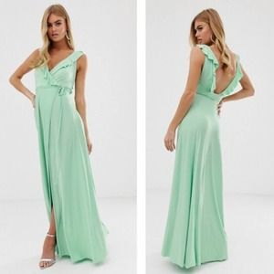 ASOS Ruffle Wrap Maxi Dress Green 8